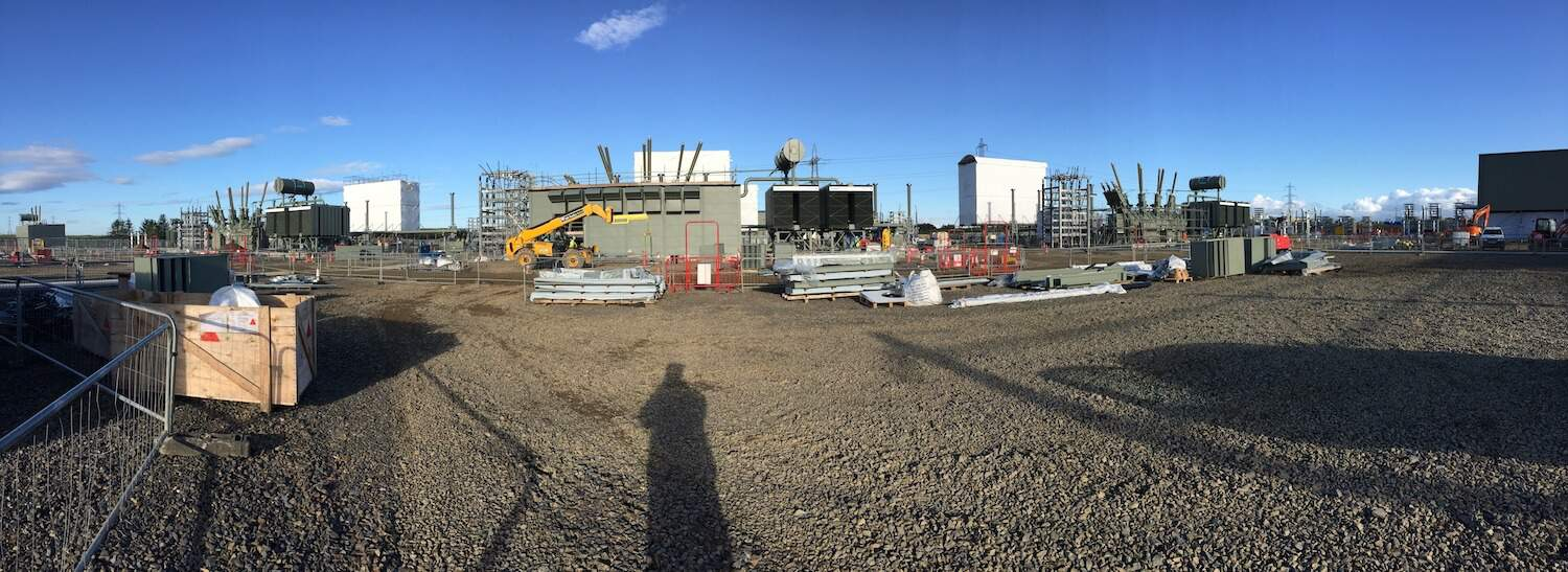 View across the site at Moray East with one of the Acoustic Enclosures by Kimpton Acoustic Engineering