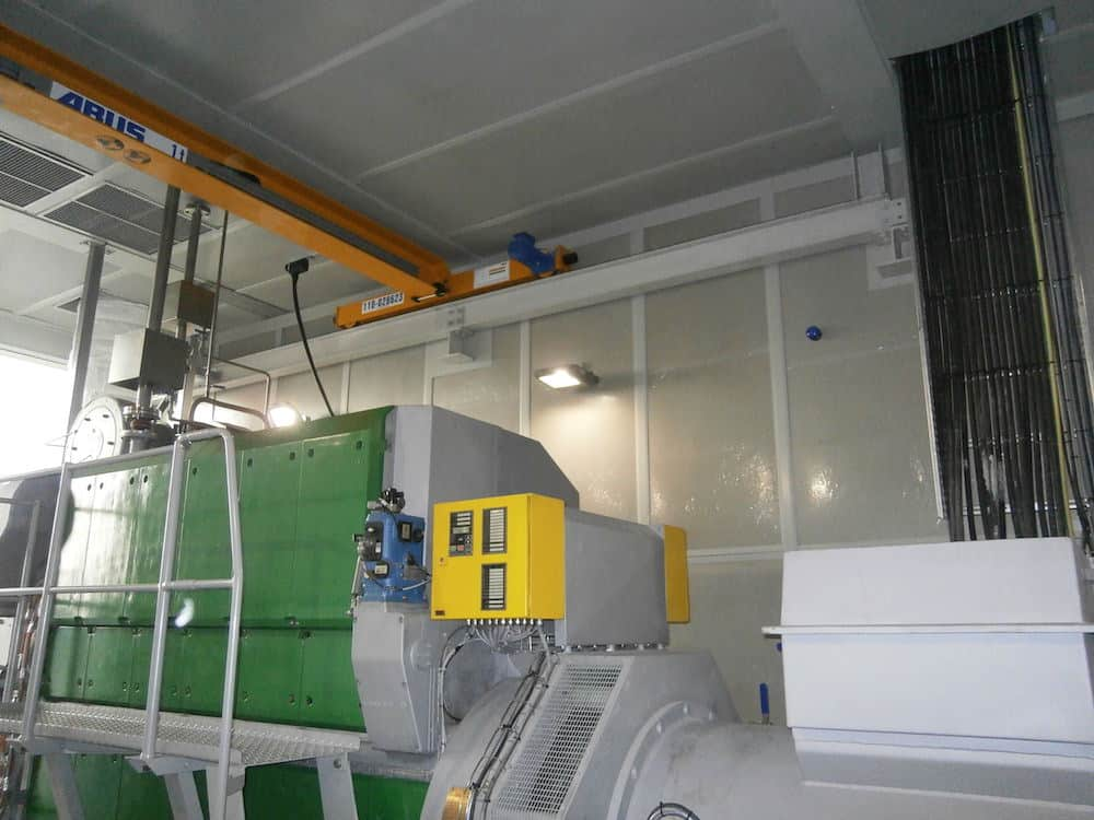 CHP Enclosure showing The finished unit with the CHP installed and all of the acoustic finishing complete