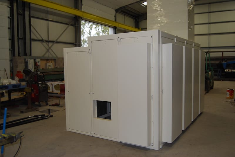 Acoustic enclosure for the process industry- The completed acoustic enclosure fully powder coated and ready to go
