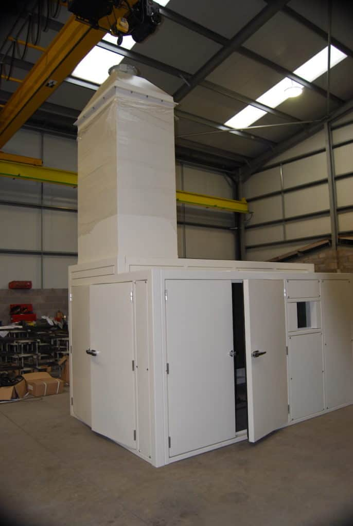 Here you can see the roof mounted outlet attenuator in position on the enclosure