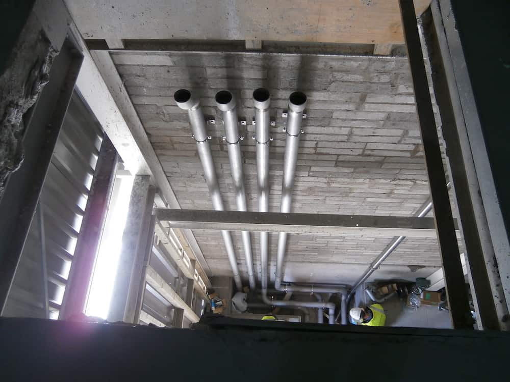 CHP Enclosure showing Pipework being carried through the building