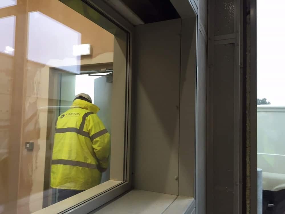 One of the viewing windows within the unit