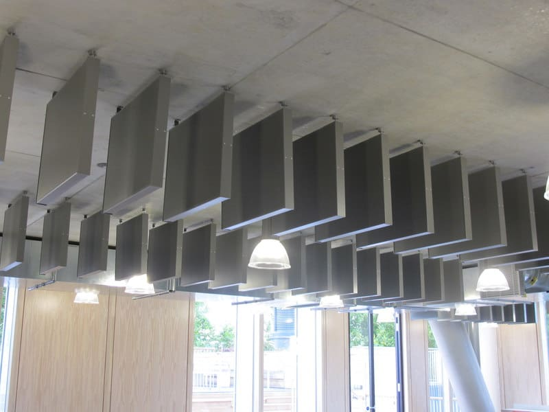 Acoustic hanging ceiling baffles with photo by David-Hawgood