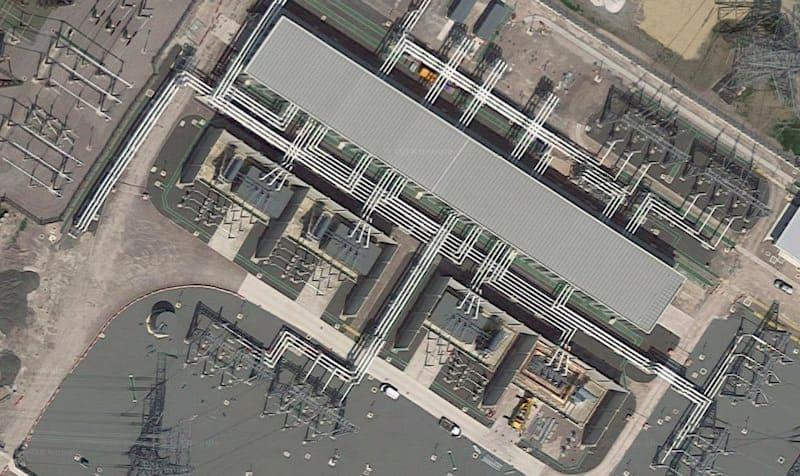 Close up aerial view of Connahs Quay substation