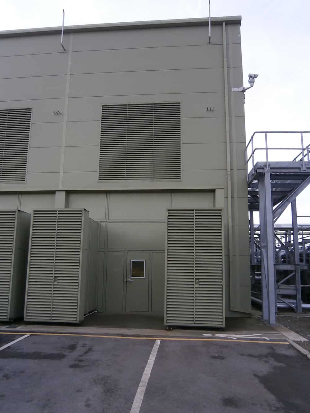 Detailed image of Davyhulme Waste Water treatment Works Acoustic Enclosure for Clarke Energy