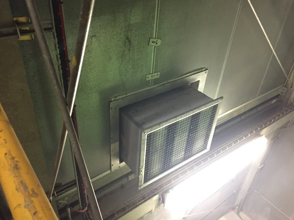 Lower vent on the Langage Acoustic Enclosure Maintenance
