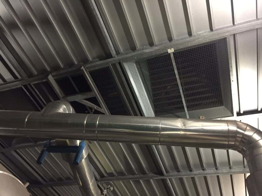Roof vents undergoing Acoustic Enclosure Maintenance