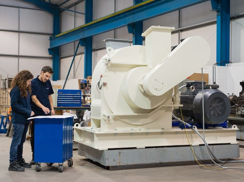The British Rema CLM100 Rotary Classifier Mill Unit in the factory