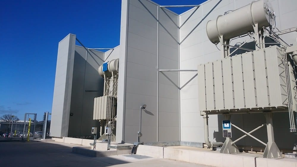 View across at Acoustic Enclosure for Dong Energy at Burbo Bank sub-station
